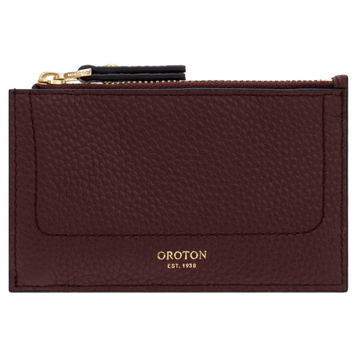 Oroton Lucy 4 Credit Card Zip Pouch in Bordeaux and Pebble Leather for female