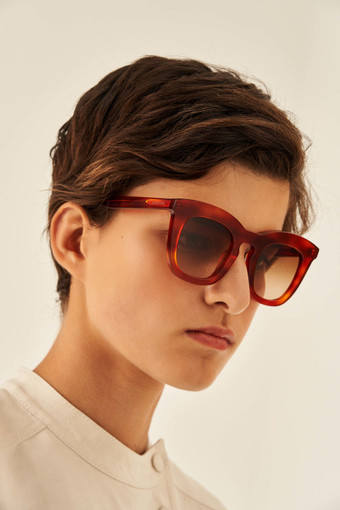 Oroton Duo Sunglasses in Tort/Brown and Acetate for female
