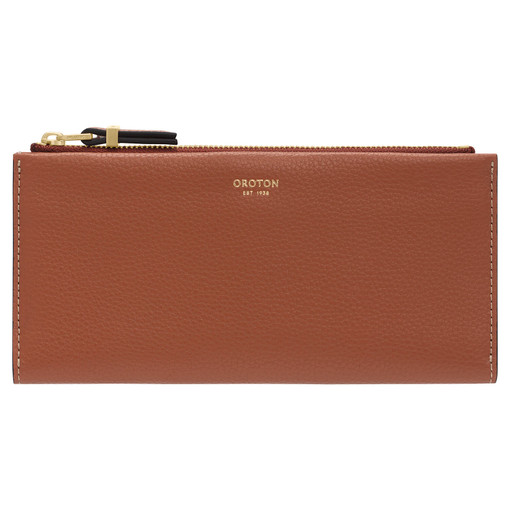 Oroton Sadie Soft Fold Wallet in Toffee and Pebble Leather for female
