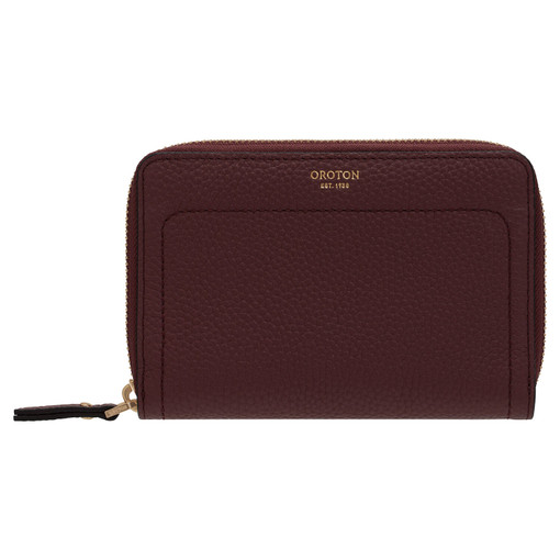 Oroton Lucy Small Book Wallet in Bordeaux and Pebble Leather for female