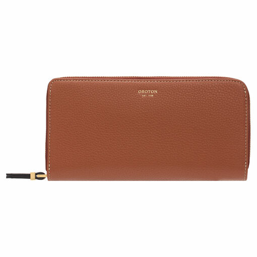 Oroton Sadie Soft Fold Zip Wallet in Toffee and Pebble Leather for female