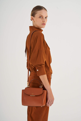 Oroton Inez Small Satchel in Cognac and Shiny Soft Saffiano for female