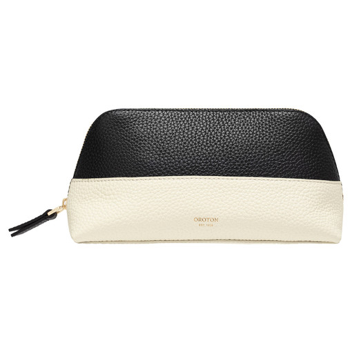 Oroton Anna Beauty Case Set in Black/Linen and Pebble Leather for female