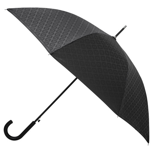 Oroton Parker Large Umbrella in Black/Black and Printed Polyester for female