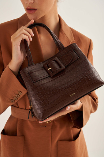 Oroton Avery Texture Small Three Pocket Day in Maple and Croc Effect Leather for female