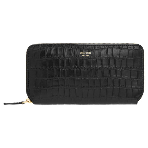 Oroton Avery Texture Slim Zip Wallet in Black and Croc Effect Leather for female