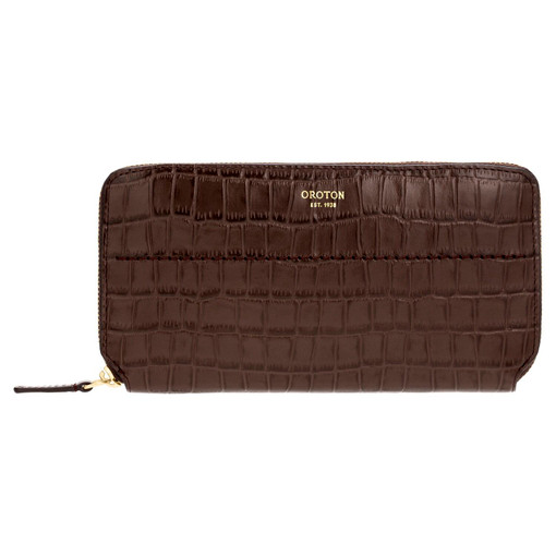 Oroton Avery Texture Slim Zip Wallet in Maple and Croc Effect Leather for female