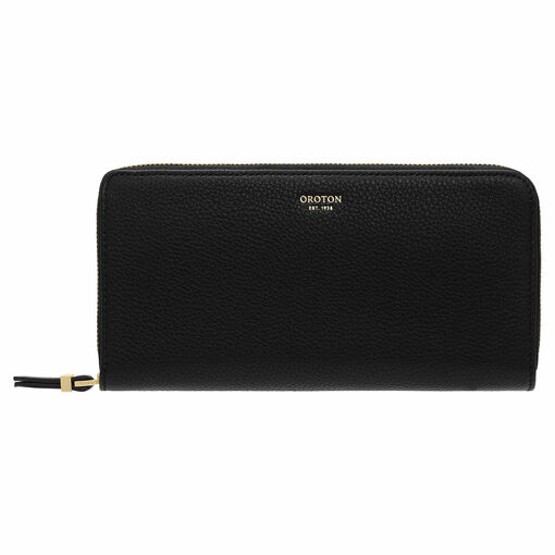 Oroton Sadie Soft Fold Zip Wallet in Black and Pebble Leather for female
