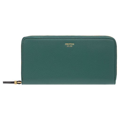 Oroton Sadie Soft Fold Zip Wallet in Vintage Green and Pebble Leather for female