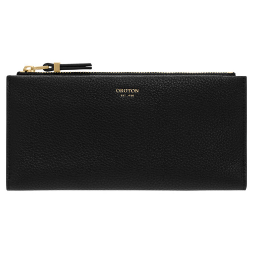 Oroton Sadie Soft Fold Wallet in Black and Pebble Leather for female