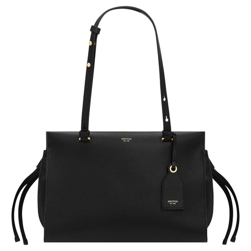 Oroton Sadie Medium Day Bag in Black and Pebble Leather for female