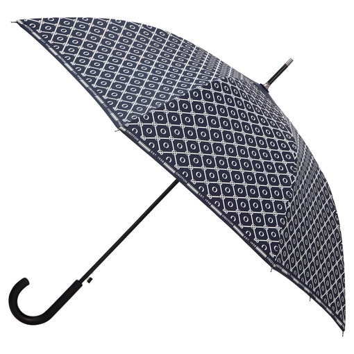 Oroton Parker Large Umbrella in Denim Blue/Cream and Printed Polyester for female