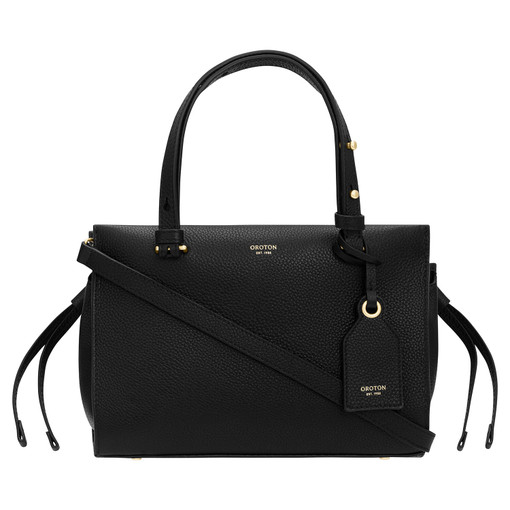 Oroton Sadie Mini Day Bag in Black and Pebble Leather for female