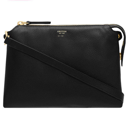 Oroton Sadie Crossbody in Black and Pebble Leather for female