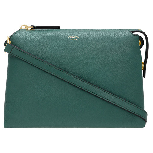 Oroton Sadie Crossbody in Vintage Green and Pebble Leather for female