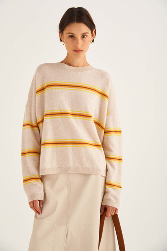 Oroton Stripe Crew Knit in Turmeric Stripe and 100% Cotton for female