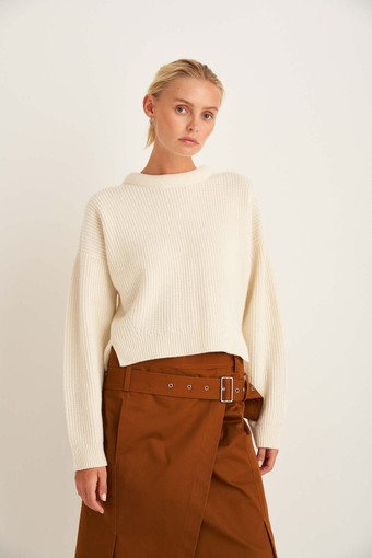 Oroton Rib Knit in Cream and 100% Wool for female