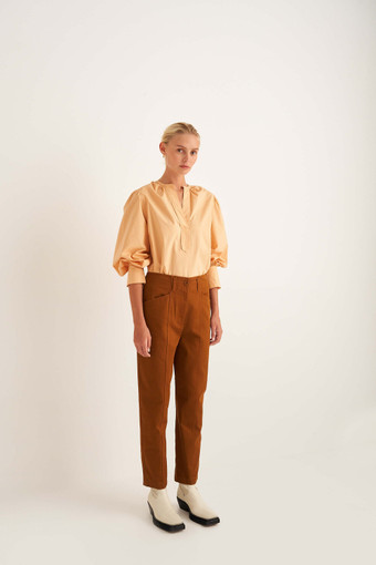 Oroton Washed Pant in Umber and 100% Cotton for female