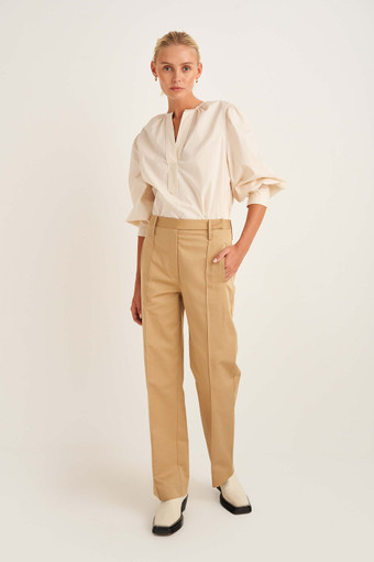 Oroton Wide Leg Pant in Golden Olive and 70% Cotton, 30% Linen for female