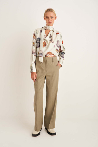 Oroton Wide Leg Pant in Flint and 57% Linen, 20% Cotton, 18% Polyamide, 5% Elastane for female