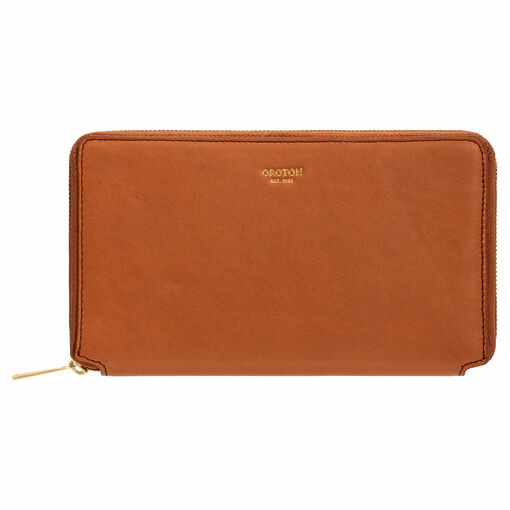 Oroton Brodie Book Wallet in Brandy and Smooth Leather for female