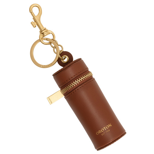 Oroton Charlie Lipstick Keyring in Brandy and Smooth Leather for female