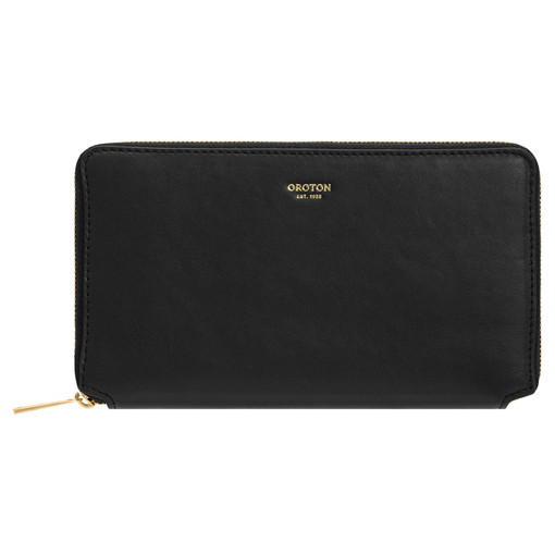 Oroton Brodie Book Wallet in Black and Smooth Leather for female
