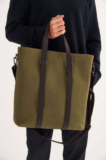 Oroton Bailey Tote in Army/Hickory and Drill Cotton Canvas for male
