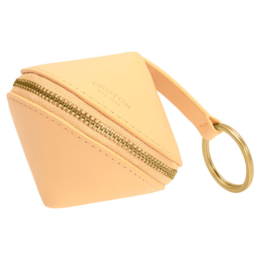 Oroton Charlie Diamond Keyring in Mango and Smooth Leather for female