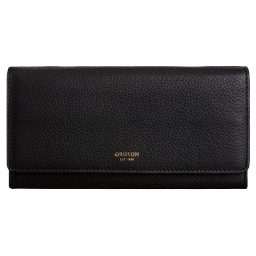 Oroton Duo Wallet And Pouch in Black and Pebble Leather for female