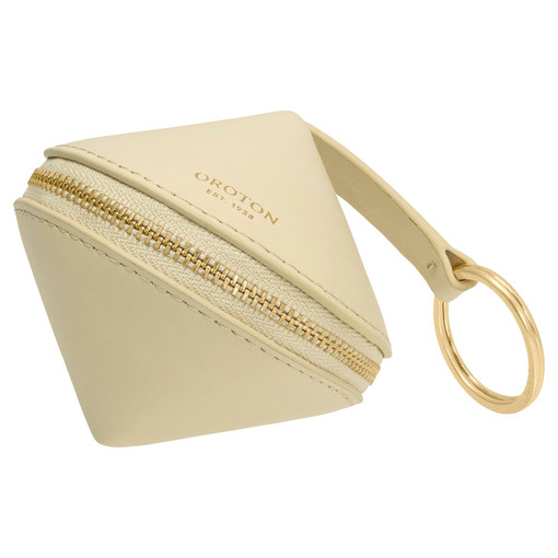 Oroton Charlie Diamond Keyring in Pale Blonde and Smooth Leather for female