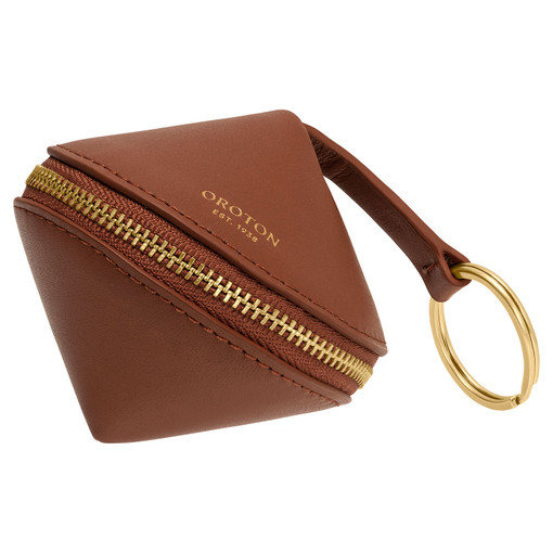 Oroton Charlie Diamond Keyring in Brandy and Smooth Leather for female