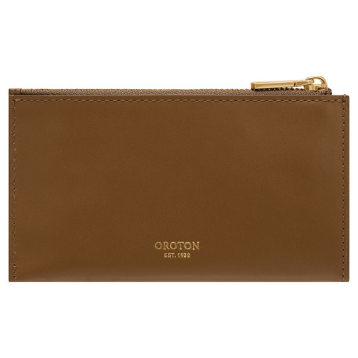 Oroton Birch 8 Credit Card Zip Pouch in Deep Olive and Smooth Leather for female