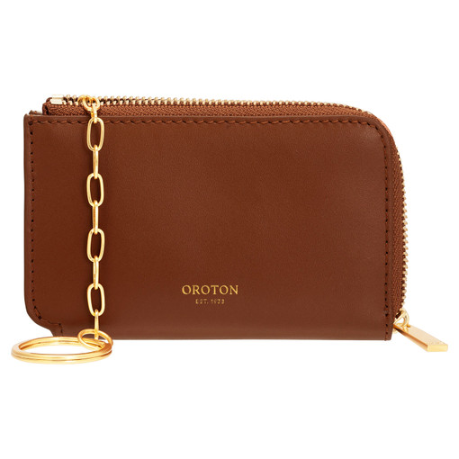 Oroton Charlie Key Holder in Brandy and Smooth Leather for female