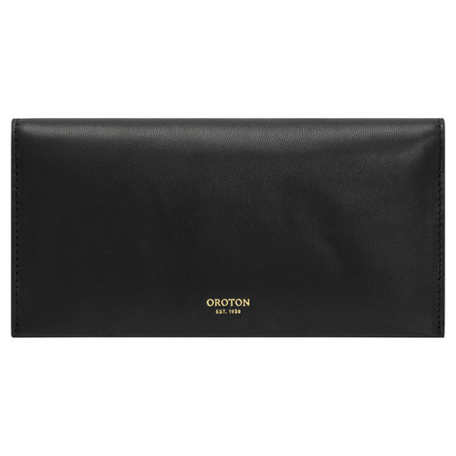 Oroton Brodie Medium Fold Wallet in Black and Smooth Leather for female