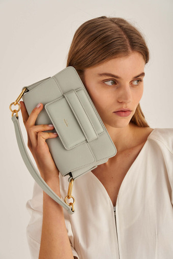 Oroton Alva Small Day Bag in Greystone and Pebble Leather for female