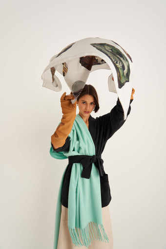 Oroton Mineral Scarf in Mineral Print and 100% Silk for female
