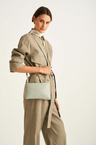 Oroton Heath Zip Crossbody in Greystone and Smooth Leather for female