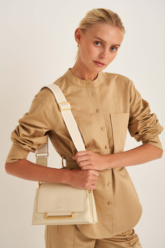 Oroton Georgie Bag Strap in Vanilla/White and Smooth Leather/Webbing Strap for female