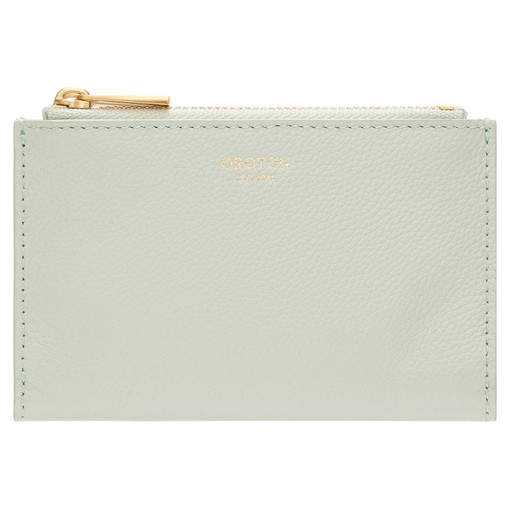 Oroton Elm 10 Credit Card Zip Wallet in Pale Topaz and Pebble Leather With Smooth Leather Trim for female