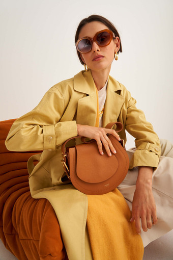 Oroton Ember Saddle Bag in Maple and Pebble Leather for female