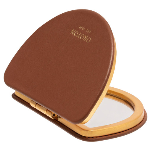 Oroton Ivy Compact Mirror in Brandy and Smooth Leather for female