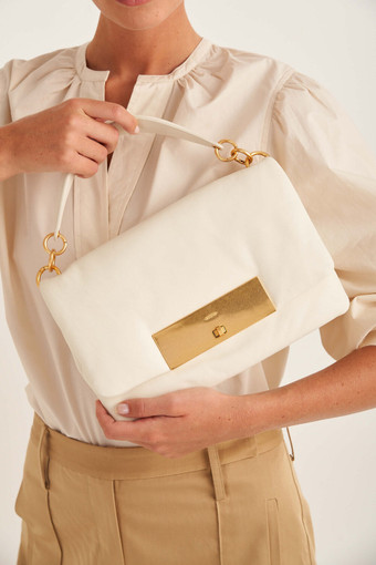 Oroton Heath Day Bag in Clotted Cream and Smooth Leather for female
