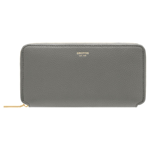 Oroton Margot Medium Zip Wallet in Deep Grey and Pebble Leather for female