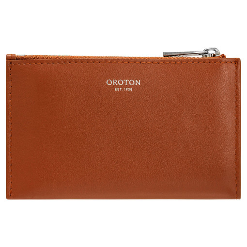 Oroton Nova 4 Credit Card Zip Pouch in Brandy and Smooth Leather for female