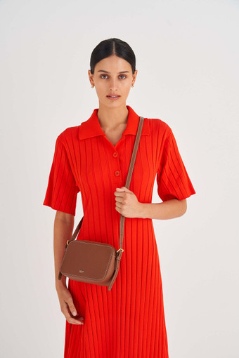 Oroton Margot Zip Around Crossbody in Whiskey and Pebble Leather for female