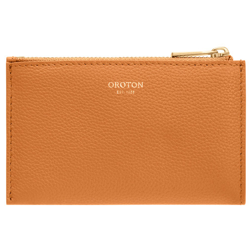 Oroton Ember 4 Credit Card Zip Pouch in Maple and Pebble Leather for female