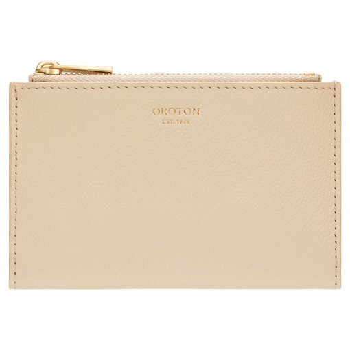 Oroton Elm 10 Credit Card Zip Wallet in French Vanilla and Pebble Leather With Smooth Leather Trim for female