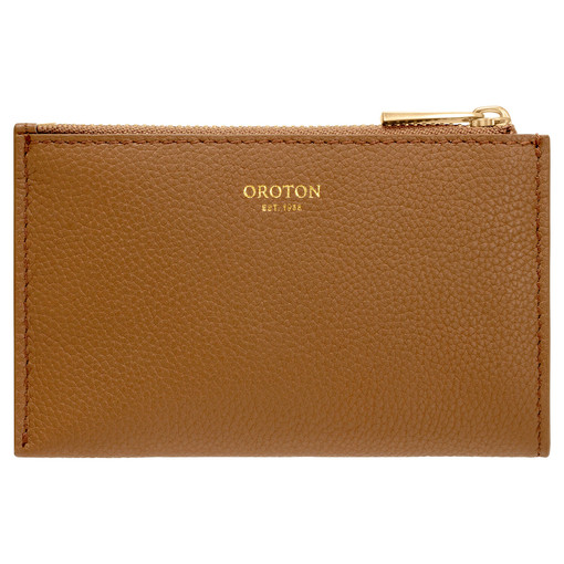 Oroton Ember 4 Credit Card Zip Pouch in Peat and Pebble Leather for female