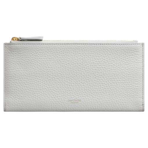 Oroton Avalon Double Zip Wallet in Cloud Grey and Pebble Leather for female